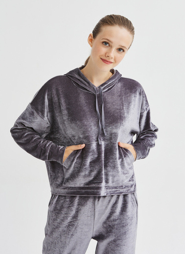 Penti Kadın Gri Velvet  Sweatshirt PHJ17WN520SK Gri
